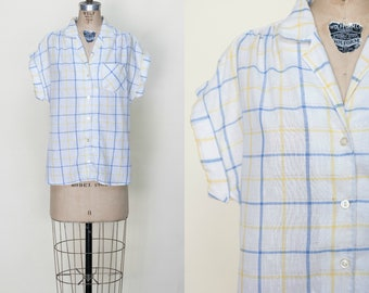 1970s Plaid Blouse --- Vintage Button Up Shirt