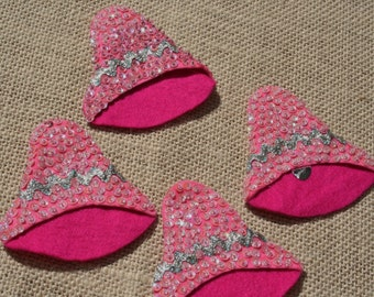 Vintage Pink Felt Wedding Bells with Sequins Set of 4