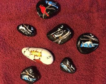 hand painted rocks set of 7 birds