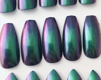 Green Purple Duochrome Press On Nails | Chameleon Fake Nails | Color Shifting Nails | Coffin Stiletto Almond Duochrome Nails | Acrylic Nails