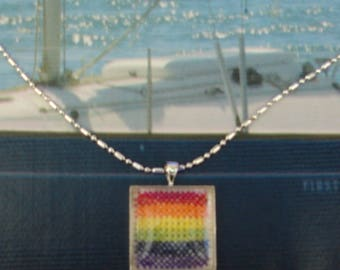 Hand embroidered Rainbow glass cabochon necklace