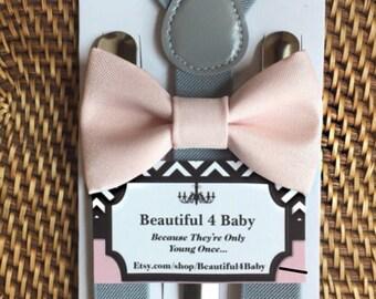 Blush Baby Boy Bow Tie, Blush Toddler Bow Tie, Blush Pink Bow Tie & Gray Suspender Set, 6 Months to 5 Years Old