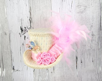 Pink and Cream Rose Medium Mini Top Hat Fascinator, Alice in Wonderland, Mad Hatter Tea Party, Derby Hat