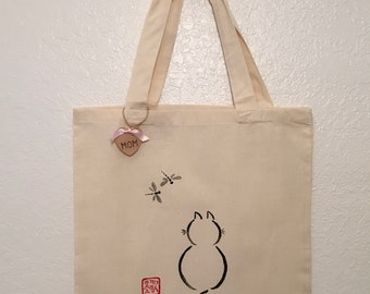 Canvas Tote, Hand Painted, Kitten, Chinese Characters, Kanji, Mother's Day Gift