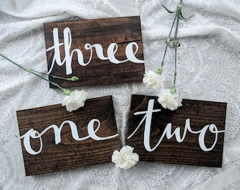 Hand-Lettered Wood Table Numbers