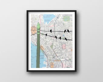 Seattle Map Print with Birds on Wire // 11x14 Art Print with Urban Art for Seattle Gift