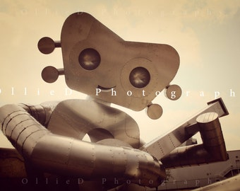 Robot guitar statue; Fine Art Greeting Card, Matted 8x10 Print or Matted 11x14 Print
