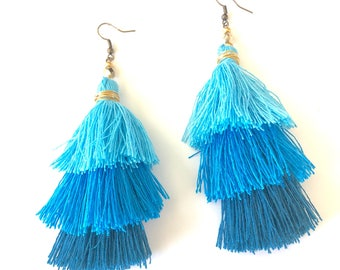 Blue 3-tier layered tassel colorful earrings. Bohemian earrings. Chandelier earrings. Cinco de Mayo accessories. Bright colorful dangles.