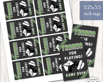 Printable GAME OVER Video Game Party Favor Tags