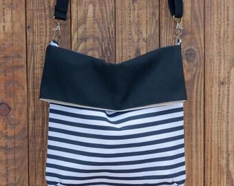 Fold over Crossbody Bag. Striped shoulder bag. Fabric bag purse. Summer bag. Stripes handbag.
