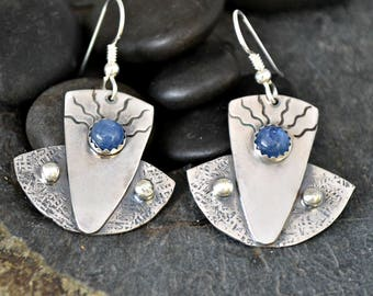 Blue kyanite and textured sterling silver earrings.  'well worn jeans'