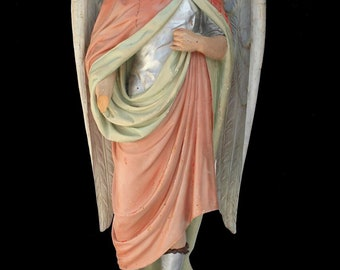 Antique Wood St. Gabriel Statue