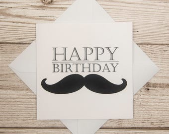 Happy birthday card black and white birthday card mens moustache birthday card card for him quirky birthday card mens birthday card bookmarktalkfo Gallery