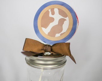 Cowboy Whirly Pop. Party Favor. Lollipop. Red. Brown. Blue. Cherry. Candy