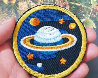 Saturn Ringed Planet Surrounded Stars and Other Planet Sew On Embroidered Patch