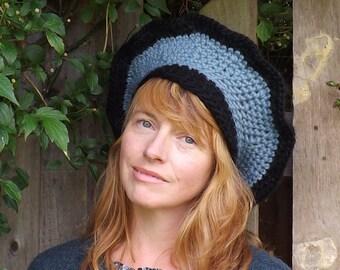Blue Beret Hat. Beret Hat In Blue. Blue And Black Wool Hat. Woman's Crochet Beret Hat. Winter Wool Hat. Boho Style Hat. Ladies Tam Hat