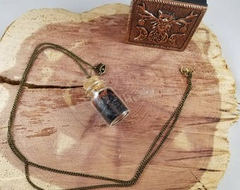 Eye Am Grounded and Protected Vial w/ Evil Eye Charm: Black Salt, Red Sandalwood (Chips), and Onyx Chips!~ Boho, Witch, Mystic, Jewelry