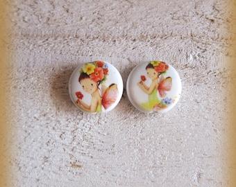 Set of 2 porcelain beads, handmade from france