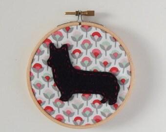 "4"" Corgi Embroidery Hoop Ornament"