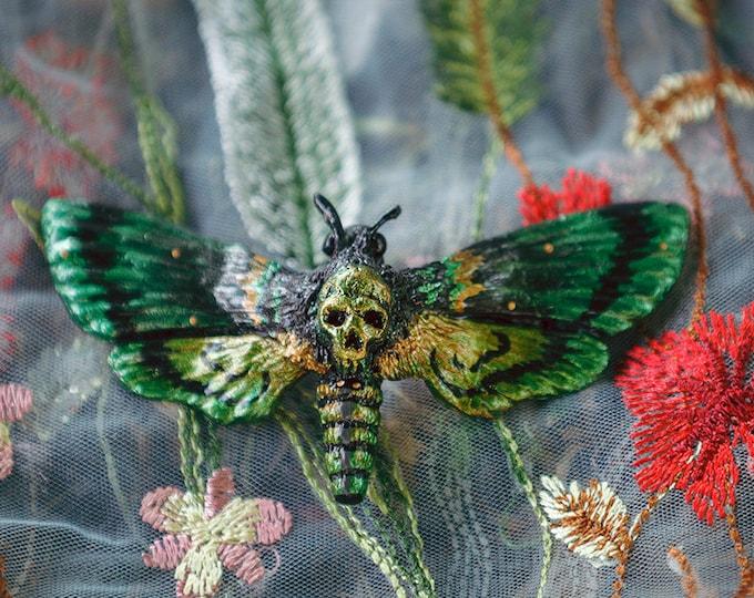 Skull and crossbones hair ornaments Green/Bronze
