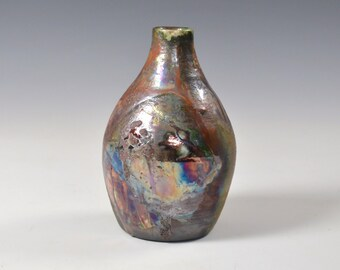 Rustic and Metallic Red Blue Green and White Raku Ceramic Bud Vase, Modern Home Decor, Unique Abstract Clay Vessel