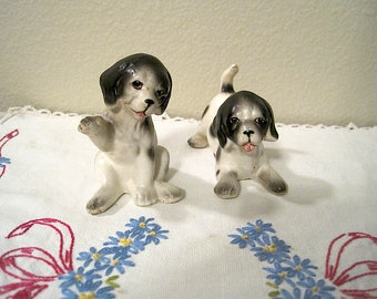 Black and White Dog Salt and Pepper Shakers