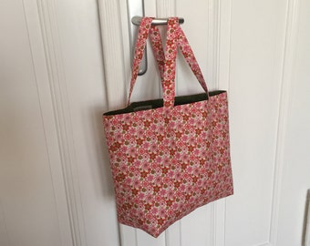 Reusable Shopper Market bag, Project bag, Grocery Tote, Beach bag, reversible, handmade, cotton, great gift, pink and green