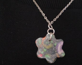 Handmade Pendant Necklace, polymer clay pendant , Sort necklace , chain , floral,