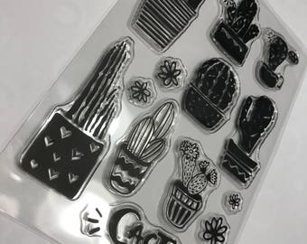 13 piece Cactus Flower clear stamp set, 10 - 65 mm (D3)