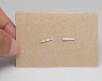 1 mm Skinny Bar Sterling Silver Stud Earrings , tiny bar earrings , minimalist studs 1 mm thin bar ear studs