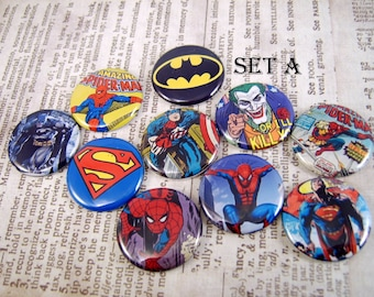 "Superhero Pins, Magnets or Flat Back Buttons, 1 inch, 1.25 inch, 2.25"" inch, Choose your Design, Comic Book Characters"