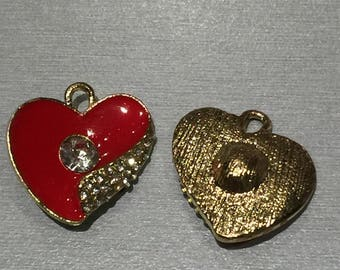 heart: gold and Red enamel + rhinestones