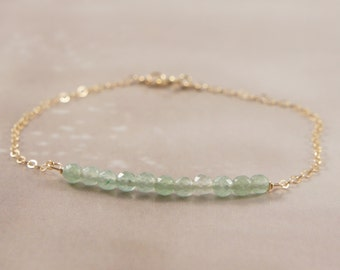 Dainty 14K Gold Fill Minimalist Bracelet / Light Mint Aqua Green Aventurine Gemstone 3mm Tiny Beads Beaded Bar / Thin Chain / Small / summer