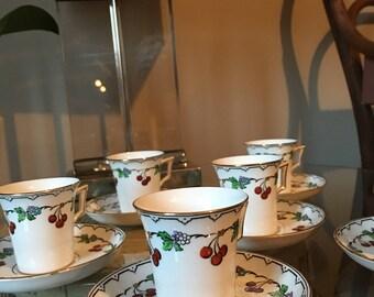 Vintage 30s mocha cups, Art Deco,Tazzine Caffè 1930, Tuscan Bone China,Antique,30s Mocha cups, Mocha Cups and Saucers, 30s handpainted