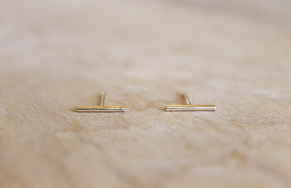 Short Line Stud Earrings   14k Gold Fill Or Sterling Silver   Parallel Lines   Minimalist Post   Thin Lines   Simple Gold Earrings  Delicate by Etsy
