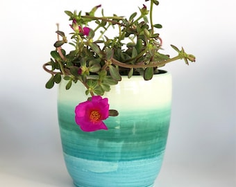 Green Blue Ombré Orchid Pot with Drainage Holes