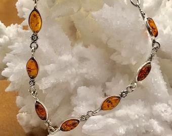 Amber-Almond-Sterling Silver-Bracelet-Anklet-for her