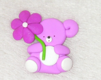 bear with daisy  -  card making embellishment.  Polymer clay