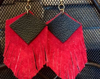 Red Leather Fringe Earrings