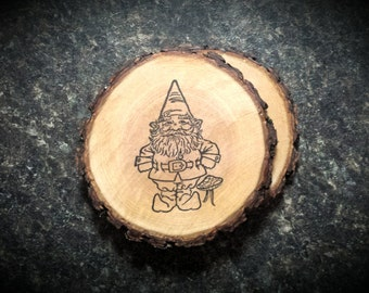 Rustic Gnome Natural Wood Coasters Set of 2