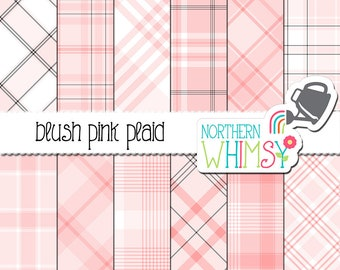 Blush Plaid Digital Paper - pastel pink tartan scrapbook paper with pops of black and white, for commercial use