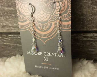 AB swarovski crystal and sterling silver earrings