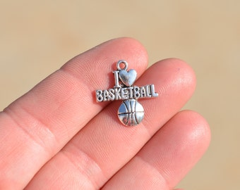 "BULK 20  Silver ""I Love Basketball"", Charms SC1250"
