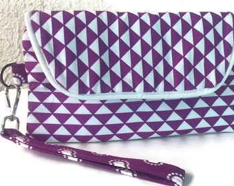 Wristlet Wallet, Smart Phone Wallet, Wristlet,  iPhone Wallet, Clutch Wallet, Fabric Wallet, Purple Wallet, Geometric Print, Gift for Her