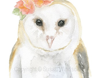 Barn Owl Floral Watercolor Giclee - 4 x 6 - Watercolor Painting Fine Art Reproduction Print