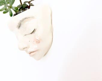 Hanging succulent planter. Hand sculpted ceramic meditating planter. Pastel glazed. Unique gift idea.