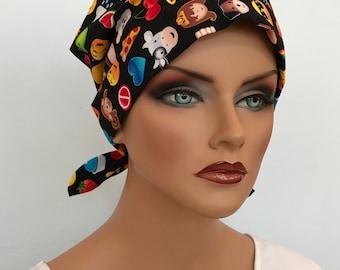 Sandra Women's Surgical Scrub Cap, Cancer Hat, Chemo Head Scarf, Alopecia Head Cover, Head Wrap, Headwear, Hair Loss - Emojis