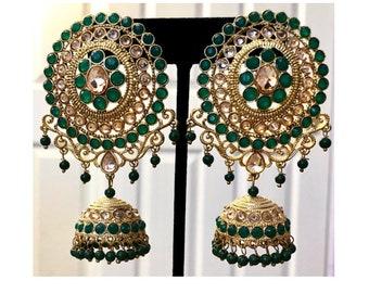 Jhumka Earrings, Indian Jewelry, Jhumki,Kundan Earring, Green Jhumki,Bollywood Earrings,Indian Earrings, Pakistani Earring, USA