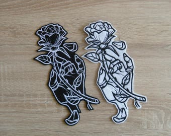 Rose and Hand patches  Rose patch  Iron on Patch Rose Black roses