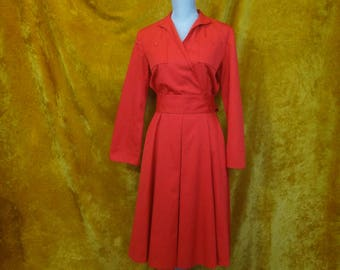 Vintage Cherry Red Shirt Dress with POCKETS & Belt/ Red Dress with Long Sleeves and Matching Belt/ Norm Thompson Midi Pin-Up Red Shirt Dress